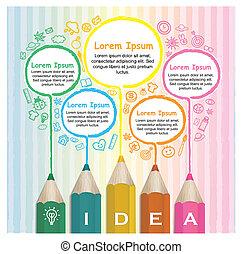 crayons, coloré, créatif, infographic, gabarit, dessin ligne