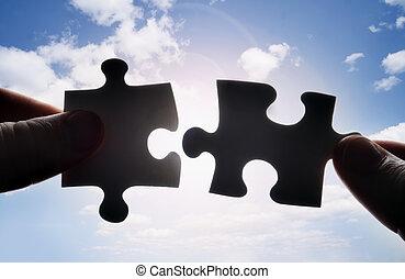 crise, puzzle, deux, ensemble, morceaux, mains, essayer