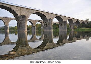 croisement, ponts, pierre, rivière, ardeche
