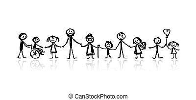 croquis, conception, ton, famille, ensemble