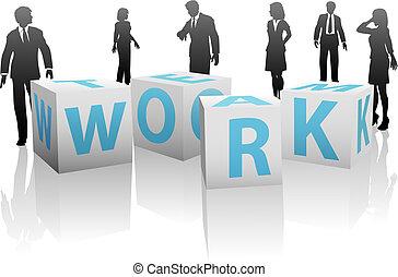 cubes, silhouette, gens, uni, équipe travail, blanc