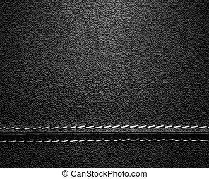 cuir, noir, point, texture