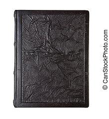 cuir, vieux, chiffonné, livre, texture