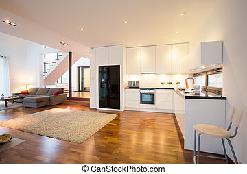 cuisine, ouvert, salle, dessin