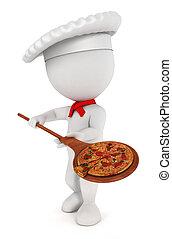 cuisinier, blanc, pizza, 3d, gens