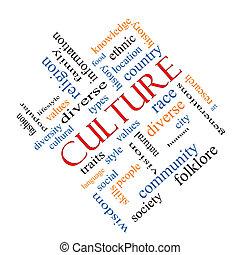 culture, concept, mot, nuage, incliné