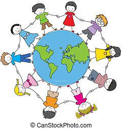 cultures, différent, enfants