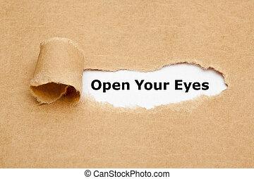 déchiré, yeux, papier, ton, ouvert