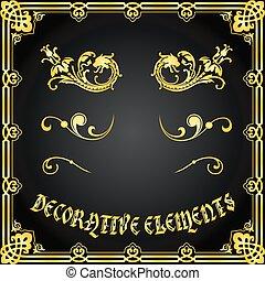 décoratif, éléments floraux, conception, ornements