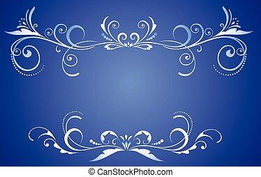 décoratif, bleu, cadre