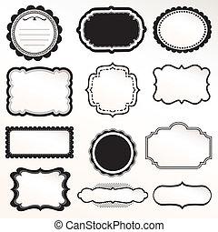 décoratif, cadre, vecteur, ensemble, vendange