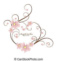 décoratif, coeur, texte, cadre, endroit, ton