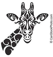 décoratif, décoratif, girafe, silhouette.