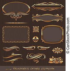décoratif, doré, décor, éléments, &, vecteur, conception, page