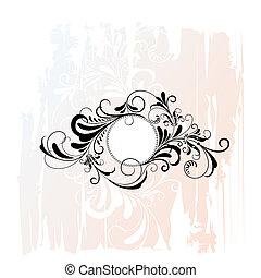 décoratif, floral, cercle, ornement
