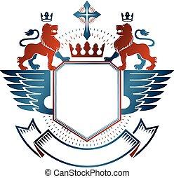 décoratif, graphique, emblème, illustration., royal, héraldique, couronne, bras, religieux, isolé, cross., lion, vecteur, animal, manteau, logo, élément