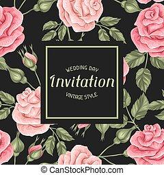 décoratif, vendange, roses., retro, invitation, fleurs, carte
