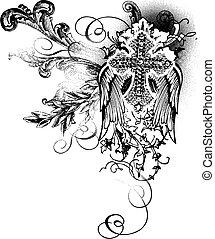 décoration, voler, croix, rouleau