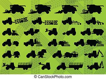 détaillé, combine, industriel, camions, moissonneuses, tracteurs, illustration, équipement, silhouettes, vecteur, excavateurs, collection, fond, agriculture, agriculture