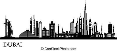 détaillé, dubai, horizon, ville, silhouette
