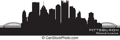 détaillé, pittsburgh, silhouette, pennsylvanie, vecteur, skyline.