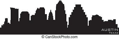 détaillé, silhouette, austin, vecteur, skyline., texas
