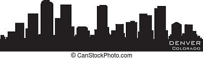 détaillé, vecteur, silhouette, colorado, denver, skyline.