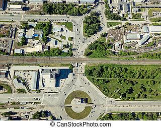 détourné, carrée, vue, aérien, deux, ville