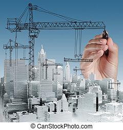 développement, concept, bâtiment