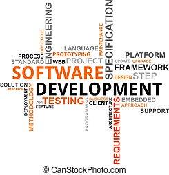 développement, mot, -, nuage, logiciel