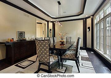 dîner, plafond, plateau, salle