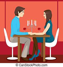 dîner, romantique, anniversaire
