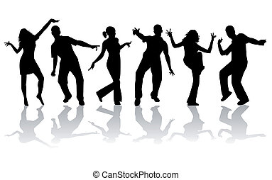 danse, silhouettes, -, collection, grand