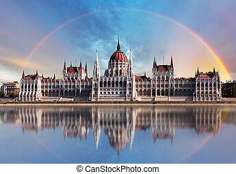 danube, -, budapest, reflet, parliament.