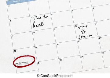 date, écrit, sauver, calendrier