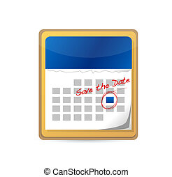 date, calendar., sauver, marqué