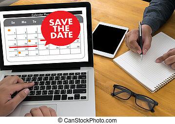 date calendrier, message, sauver