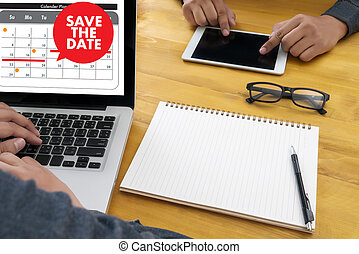 date, calendrier, sauver, message