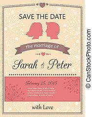 date, sauver, invitation, carte, mariage