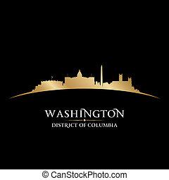 dc, arrière-plan noir, horizon, ville, silhouette washington