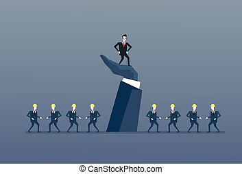 debout, concept, groupe, professionnels, grand, haut, main, direction, homme affaires, patron, éditorial