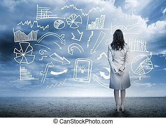 debout, organigramme, regarder, données, femme affaires