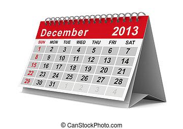december., image, isolé, calendar., année, 2013, 3d