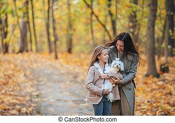dehors, maman, automne, girl, peu, parc, jour