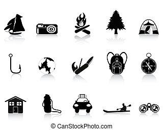dehors, noir, camping, icône