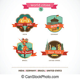 delhi, mondiale, étiquettes, -, york, berlin, nouveau, villes, rio