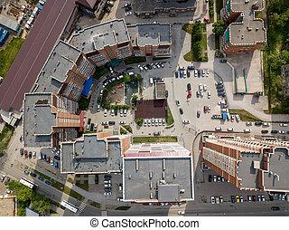 demi-cercle, ville, bâtiments, aérien, forme, nouveau, vue