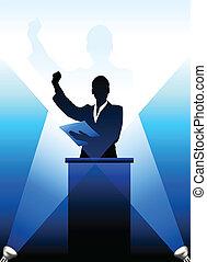 derrière, silhouette, business/political, podium, orateur