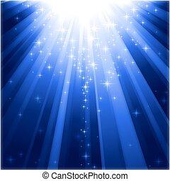 descendre, lumière, magie, étoiles, rayons