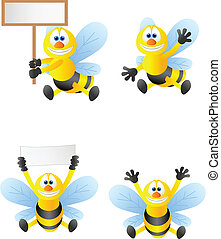 dessin animé, collection, abeille